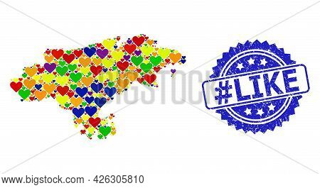 Blue Rosette Textured Seal With Hashtag Like Caption. Vector Mosaic Lgbt Map Of Cantabria Province W