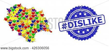 Blue Rosette Textured Stamp With Hashtag Dislike Phrase. Vector Mosaic Lgbt Map Of Himachal Pradesh