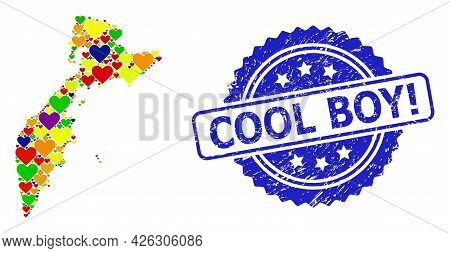 Blue Rosette Distress Seal Stamp With Cool Boy Exclamation Title. Vector Mosaic Lgbt Map Of Kamchatk