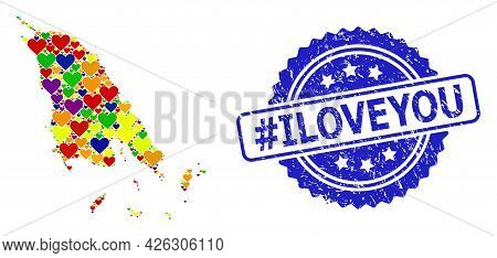 Blue Rosette Textured Watermark With Hashtag Iloveyou Message. Vector Mosaic Lgbt Map Of Koh Chang W