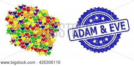 Blue Rosette Textured Seal Imprint With Adam And Eve Text. Vector Mosaic Lgbt Map Of Kujawy-pomerani