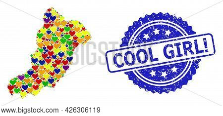 Blue Rosette Grunge Watermark With Cool Girl Exclamation Title. Vector Mosaic Lgbt Map Of La Gracios