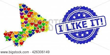 Blue Rosette Scratched Seal Stamp With I Like It Exclamation Phrase. Vector Mosaic Lgbt Map Of Mali
