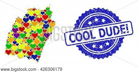Blue Rosette Textured Stamp With Cool Dude Exclamation Caption. Vector Mosaic Lgbt Map Of Manipur St