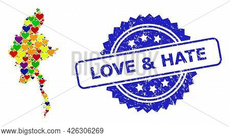 Blue Rosette Grunge Seal Stamp With Love And Hate Message. Vector Mosaic Lgbt Map Of Myanmar With Lo