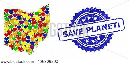 Blue Rosette Grunge Seal Imprint With Save Planet Exclamation Title. Vector Mosaic Lgbt Map Of Ohio