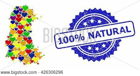 Blue Rosette Rubber Seal Imprint With 100 Percent Natural Phrase. Vector Mosaic Lgbt Map Of Palencia
