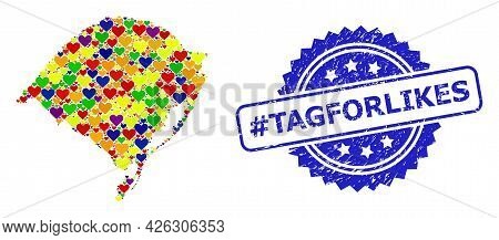 Blue Rosette Distress Seal Imprint With Hashtag Tagforlikes Message. Vector Mosaic Lgbt Map Of Rio G