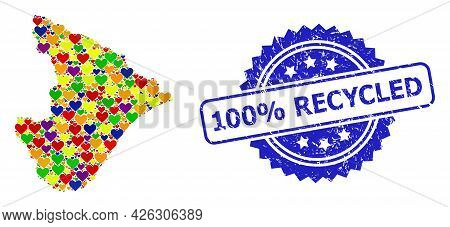 Blue Rosette Rubber Stamp With 100 Percent Recycled Phrase. Vector Mosaic Lgbt Map Of Sergipe State