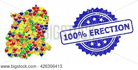 Blue Rosette Distress Stamp With 100 Percent Erection Title. Vector Mosaic Lgbt Map Of Sikkim State