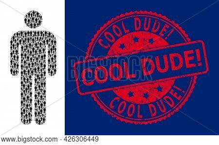 Cool Dude Exclamation. Unclean Round Seal Print And Vector Recursion Collage Person. Red Seal Contai