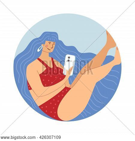 Illustration Of A Girl In Underwear With A Phone In Her Hands.