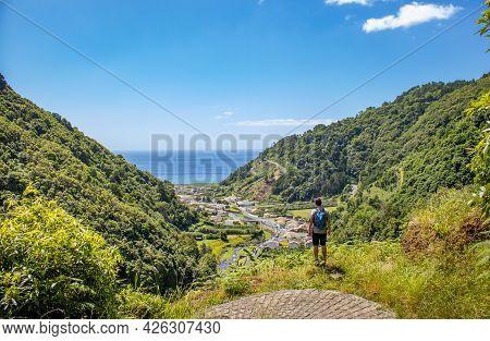 Hiker Enjoying View To Atlantic Ocean, Azores Travel Destination, Nature.