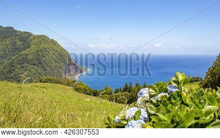 Panorama View Over Landscape, Nature, Azores Islands.