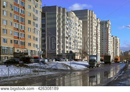 Balashikha, Russia - March 19, 2021. New Residential Neighborhood In The Spring. Snow Melting On The