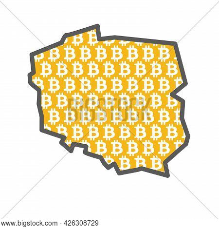 Poland Country Map With Bitcoin Crypto Currency Logo