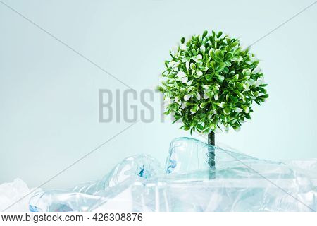 A Tree Growing From Dump Of Bottles Plastic On Mint Colored Background With Copy Space. Save The Ear