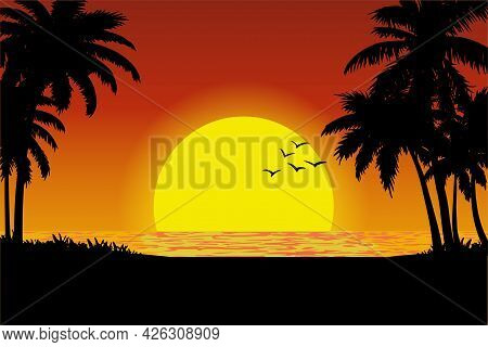 Vector Illustration Of A Tropical Beach Sunset View. Palm Silhouettes On Summer Sunset With Beautifu