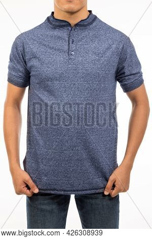 Front View Of Blue Marine Aegean Shirt With Short Sleeve And Banded Collar On A Torso Guy In Studio