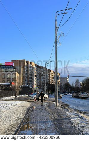 Balashikha, Russia - March 19, 2021. Residential Neighborhood On The Spring Sunny Day. View Of The S