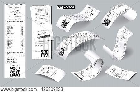 Set Of Realistic Register Sale Receipt Isolated Or Cash Receipt Printed On White Paper Concept. Eps