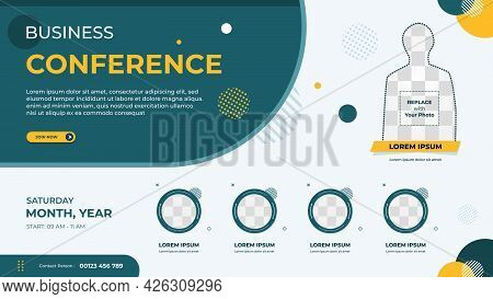 Business Webinar Banner Template For Website With Multi Circle Frame And Blue Background Geometric M
