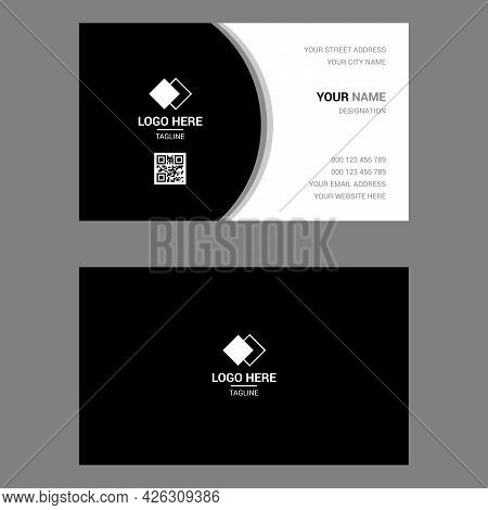 Black And White Simple Business Card Design Template