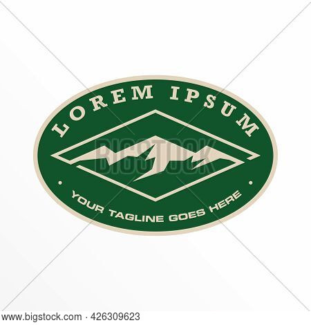 Mountain Free Logo Vector Stock. Ellipse Abstract Design Concept. Can Be Used As A Symbol Related To