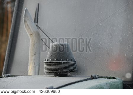 Belarus - 02.02.2015 - Frozen In The Frost Windows Of The Harvester Harvesting Wood. High Quality Ph