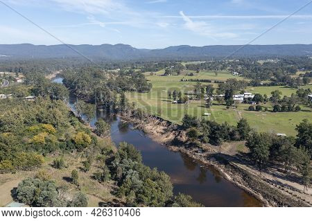 Drone Aerial Photograph Of The Grose River After Severe Flooding In Yarramundi Reserve In The Hawkes