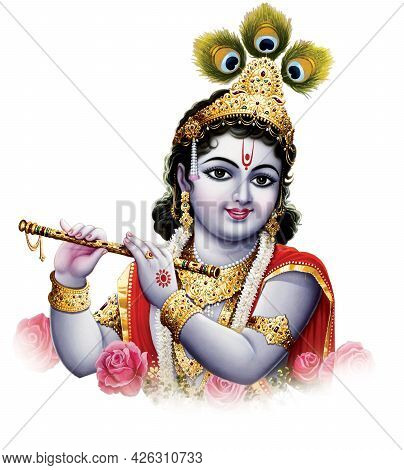 Indian God Lord Krishna With His Flute Making Magical Tunes