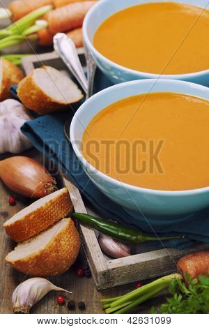 Traditional Carrot soup with vegetables