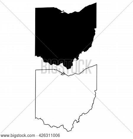 Ohio Map Icon On White Background. Ohio Us State Sign. Ohio Outline Symbol. Flat Style.
