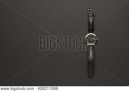 Stylish Classic Men's Watch With Hands On A Black Background. A Fashionable And Stylish Men's Access