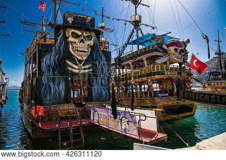 Alanya , Turkey- October 20, 2020:  Vintage pirate ship in the Mediterranean, Alanya, Turkey.
