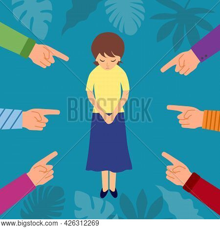 Sad Or Depressed Woman Crying And Surrounded By Hands With Index Fingers. Accusation Guilty Concept