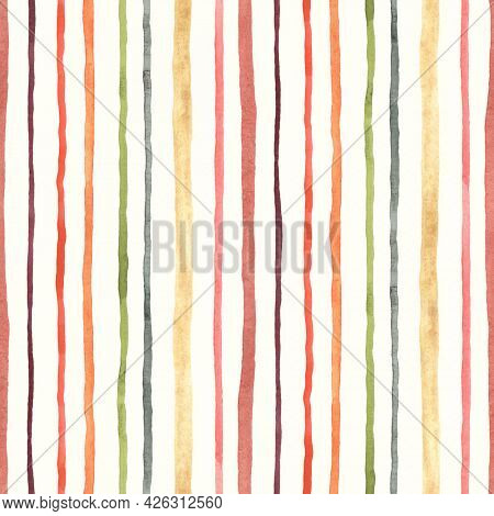 Striped watercolor seamless pattern, abstract vertical stripes on ivory background, print texture.
