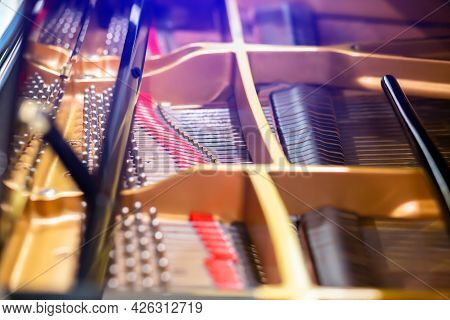 Selective Focus To Inside A Grand Piano.