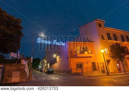 Parcent Spain - August 16 2016; Holiday Decoration At The Streets Of Parcent Spain. Holiday Festival