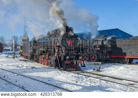 Sortavala, Russia - March 10, 2021: Old Soviet Steam Locomotives On The Sortavala Station On A Frost