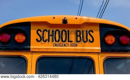 NORWALK, CT, USA - JULY 6, 2021: Detail from school bus on Calf Pasture beach