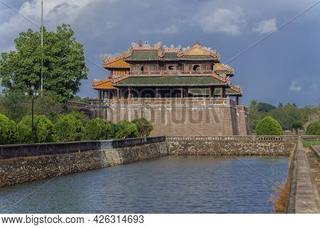 View Of The Ancient Main Gate (ngo Mon Gate) Of The Citadel Of Hue City. Vietnam