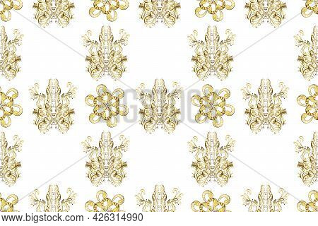 Seamless Vintage Elements For Design, Application Of Henna, Mehndi And Tattoo. Patterns On Beige, Wh