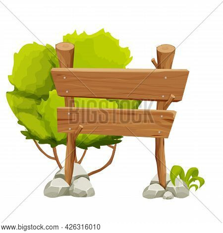 Wooden Pointer, Signboard With Rock, Stone Pile, Moss, Grass And Bush In Cartoon Style Isolated On W