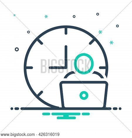 Mix Icon For Man-hour Man Work Laptop Hour Hourly