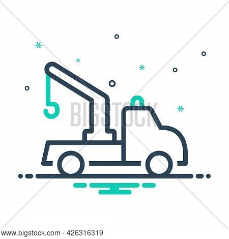 Mix Icon For Tow-truck Tow Truck Transportation Carrier Crane