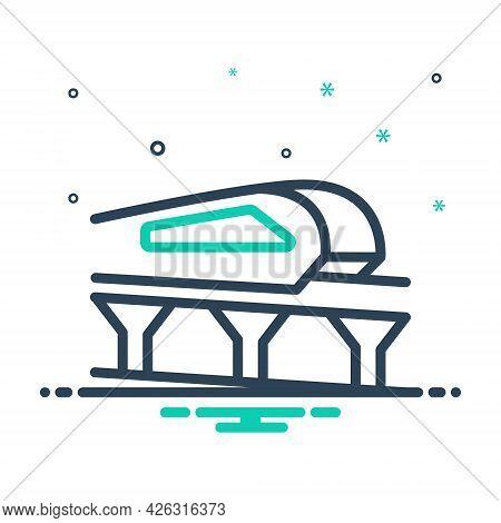 Mix Icon For Monorail Carriage Journey Passenger Transport Train Bridge