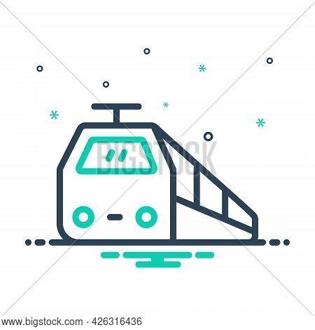 Mix Icon For Train Subway Railway Tram Rail Transport Railroad Track