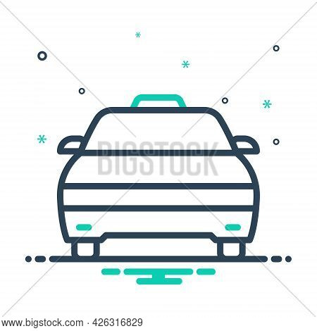 Mix Icon For Cab Taxi Transportation Vehicle Wheel Passenger Rental