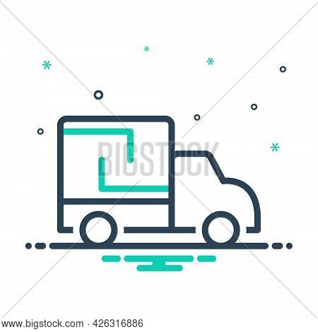 Mix Icon For Lorry Cargo Truck Container Transportation Travel Delivery Shipping